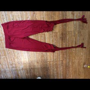 Satin Burgundy Yoga Pants With Ribbon Calf Ties XL
